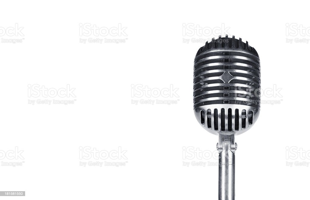 Retro microphone isolated on white royalty-free stock photo