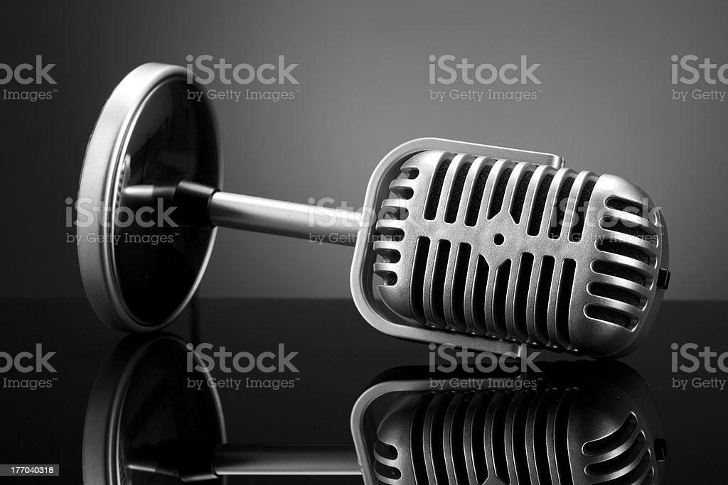 Retro microphone on grey royalty-free stock photo