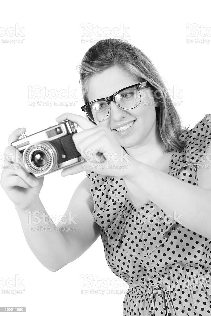 Retro monochrome pretty woman photographer royalty-free stock photo