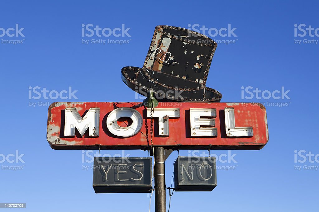 retro motel sign stock photo