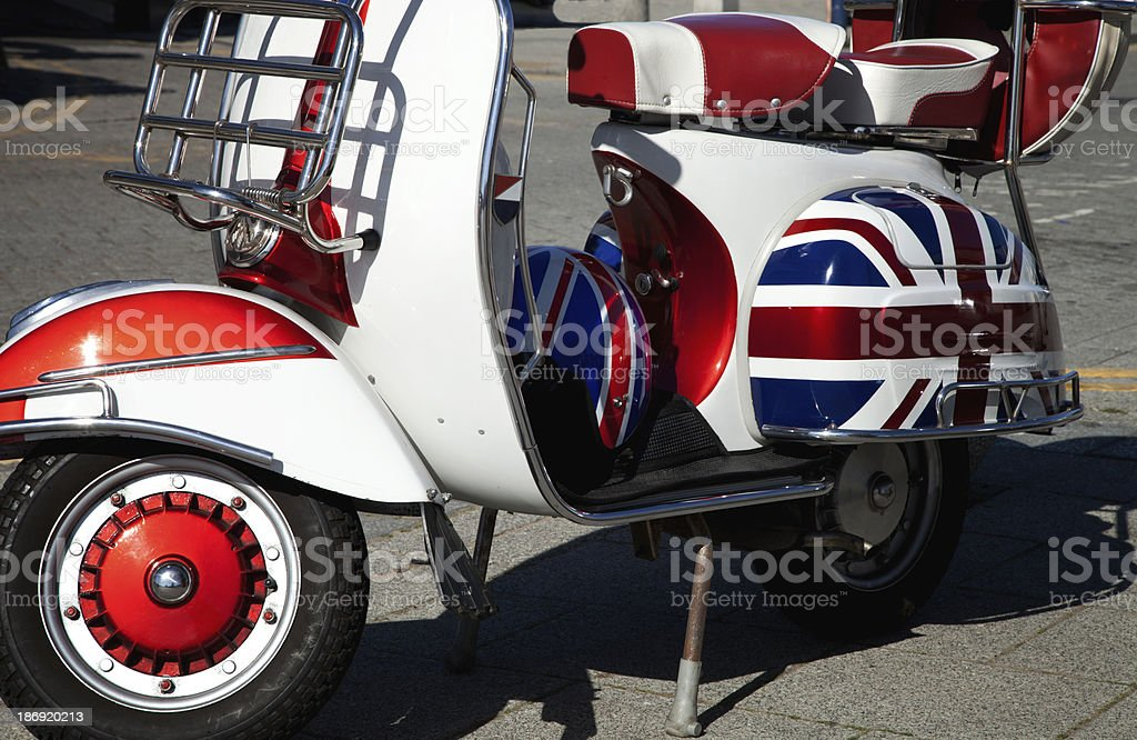 Retro motor scooter stock photo