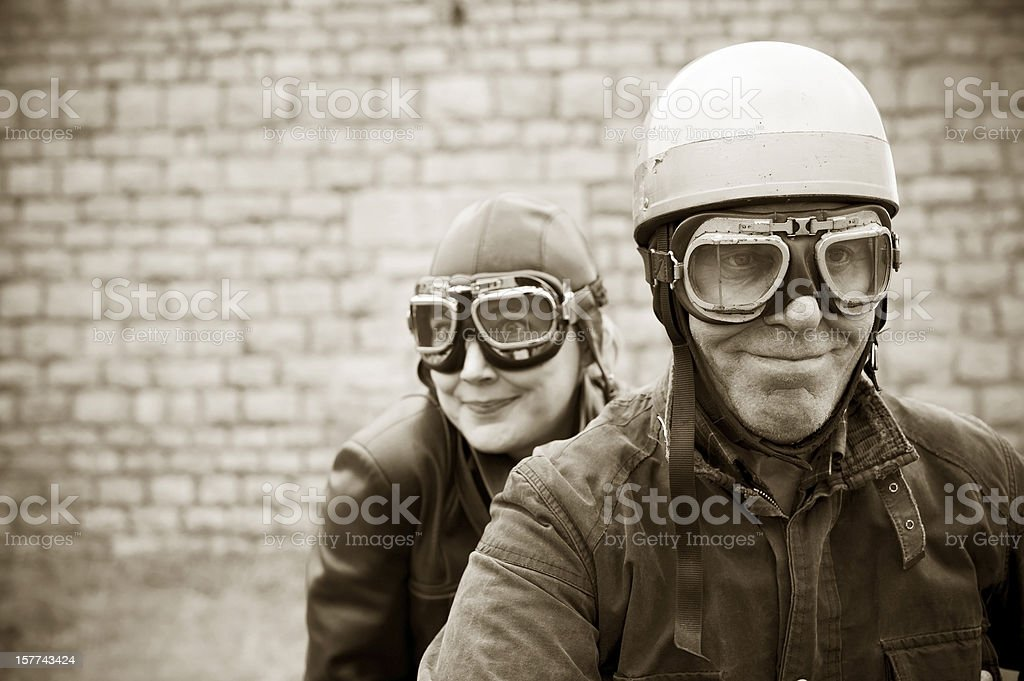 Retro Motorcyclists - 1935 Style royalty-free stock photo