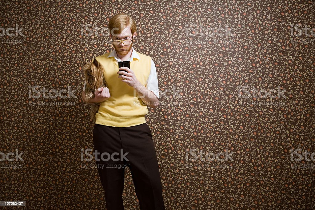 Retro Nerd with Dog and Coffee royalty-free stock photo