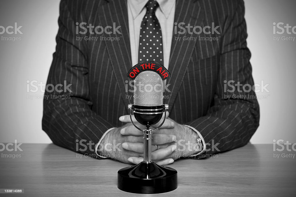 Retro news broadcast and microphone. stock photo