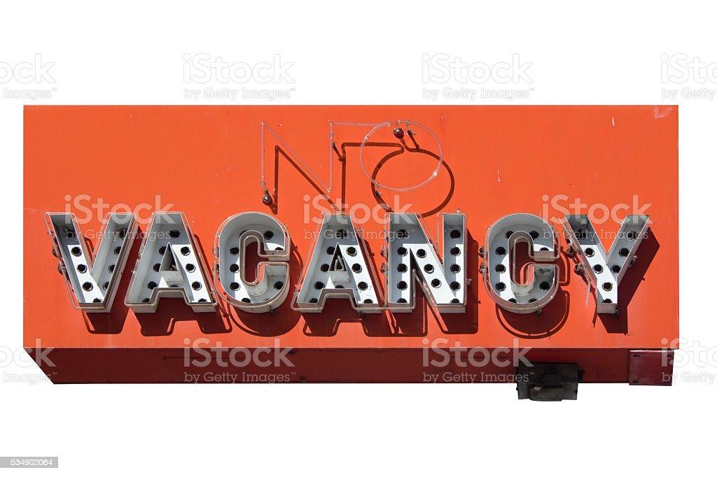 retro no vacancy neon sign stock photo