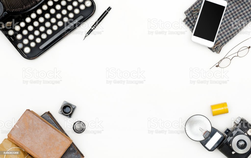 retro office desk stock photo