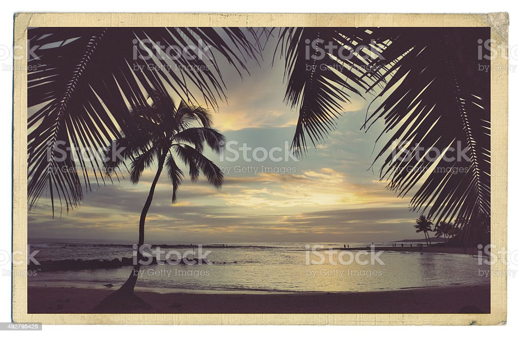 Retro Old Antique Postcard of the Beach Paradise of Kauai Hawaii stock photo