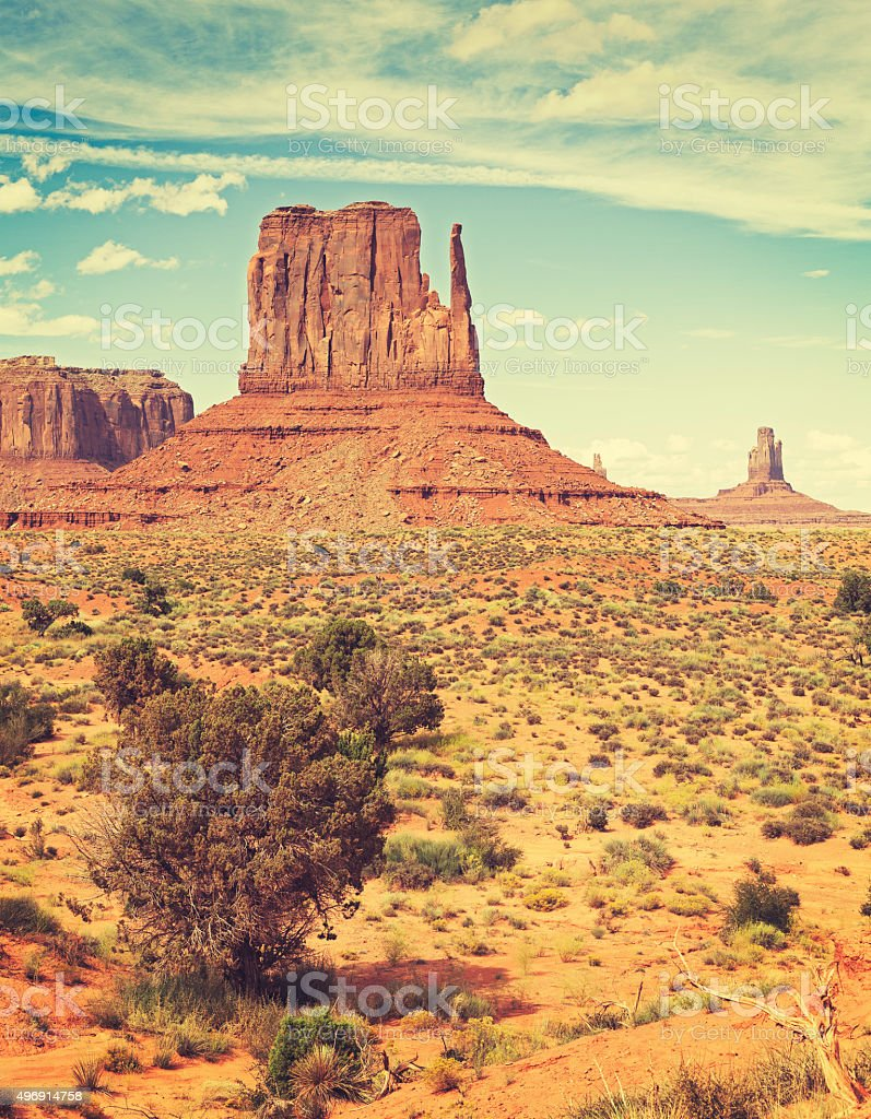Retro old film style photo of Monument Valley, USA. stock photo