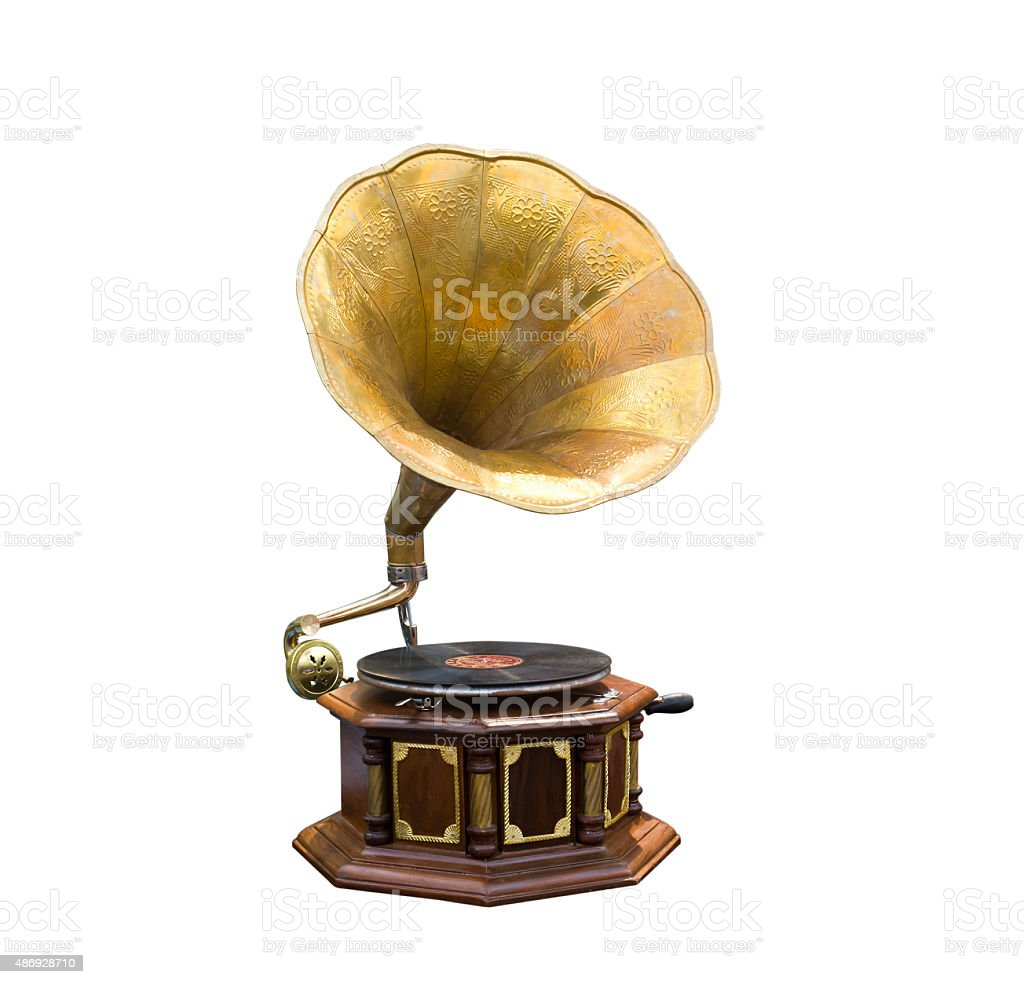 Retro old gramophone stock photo