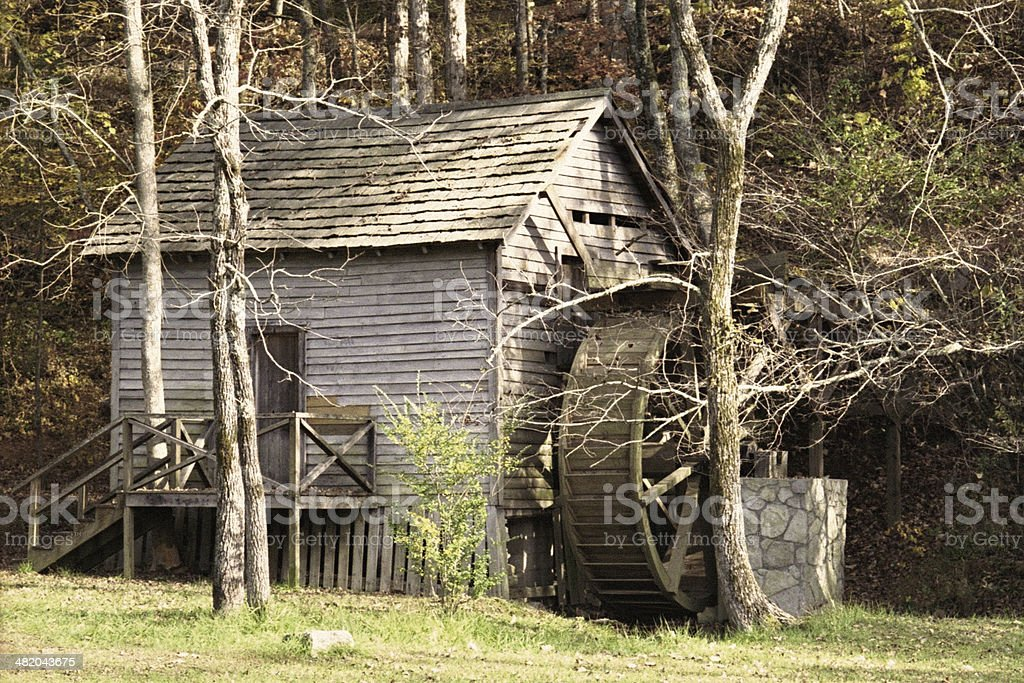 Retro Old Grist Mill stock photo