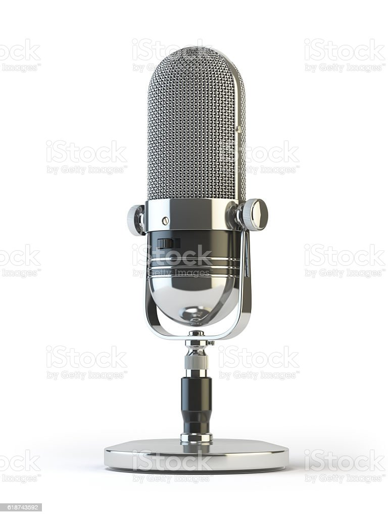 Retro old microphone isolated on white. Vintage, stock photo