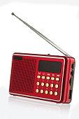 Retro old radio isolated on white