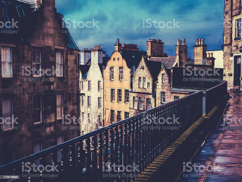 Retro Old Town Edinburgh Buildings stock photo