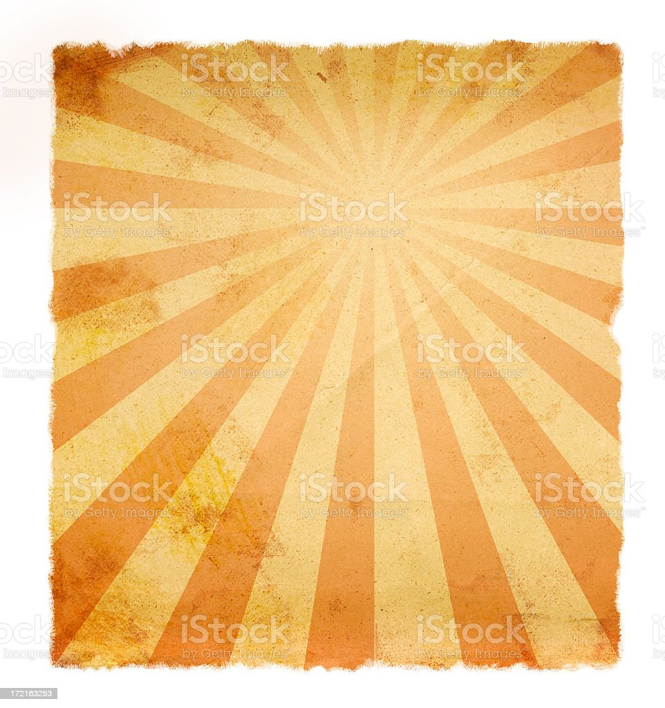 Retro paper burnt orange shades sunburst effect stock photo