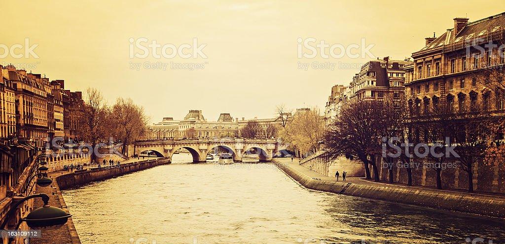 Retro Paris landscape royalty-free stock photo