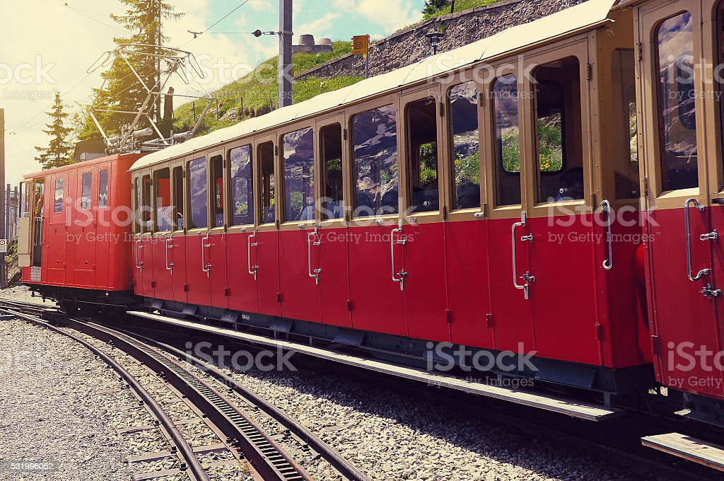 Retro passenger train. stock photo