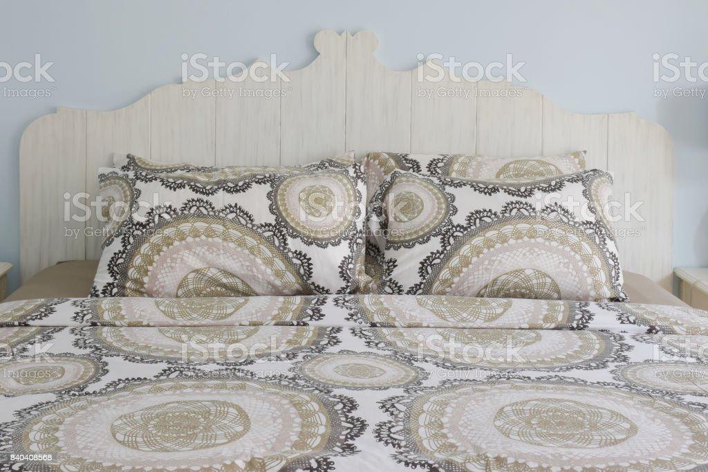 Retro pattern linen with wooden retro style headboard