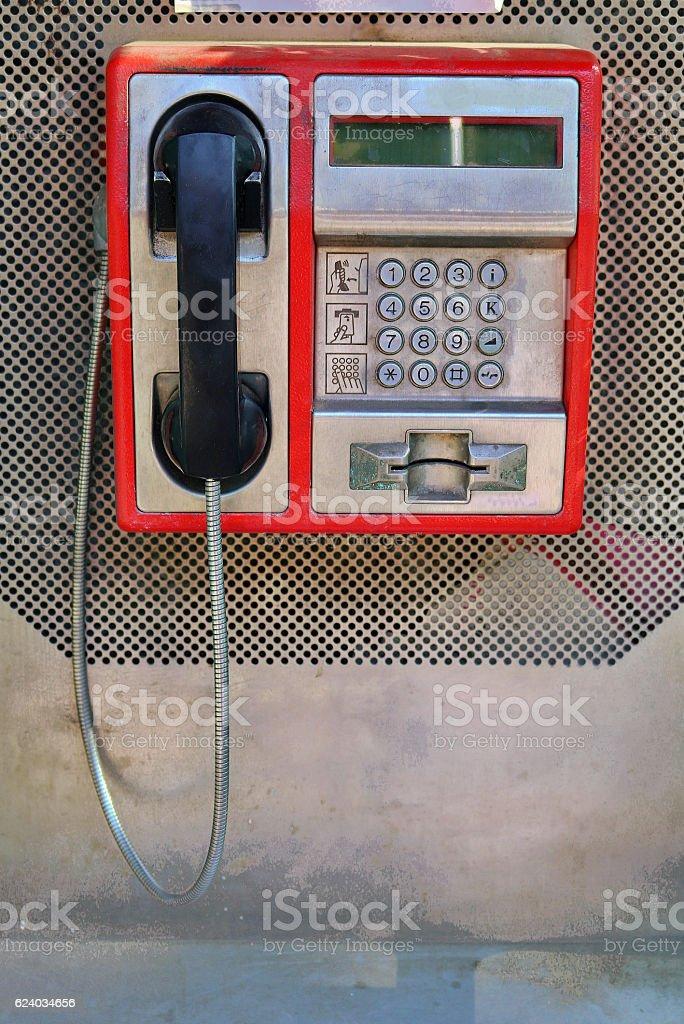 Retro payphone stock photo