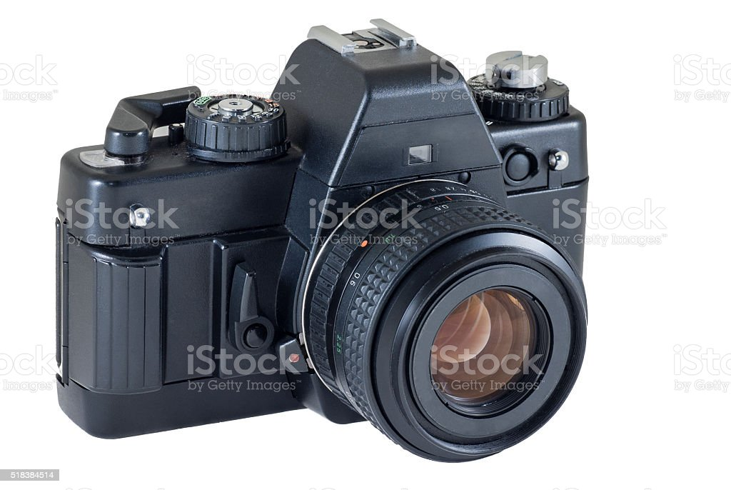 retro photo camera isolated on white background, clipping path stock photo