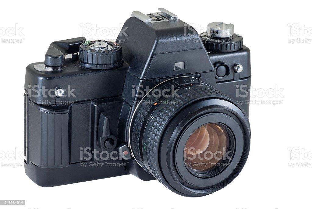 retro photo camera isolated on white background, clipping path stock photo