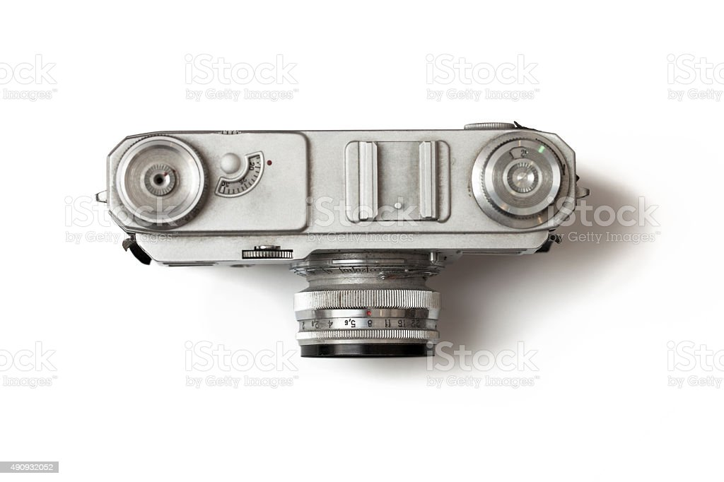Retro photo camera isolated on white backround stock photo