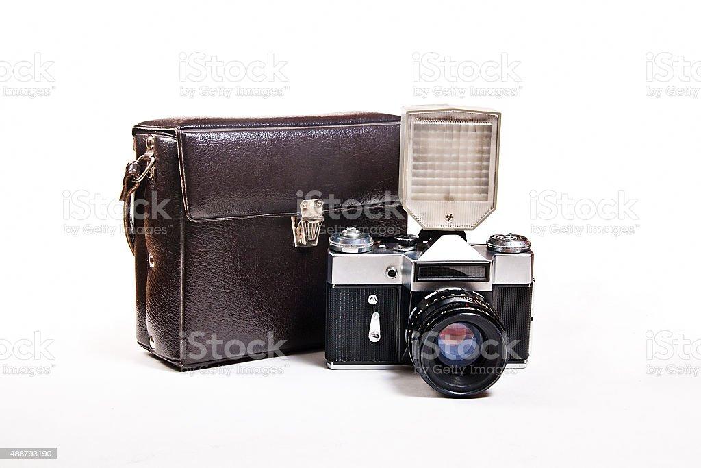 Retro foto de Cámara con flash Aislado en blanco foto de stock libre de derechos