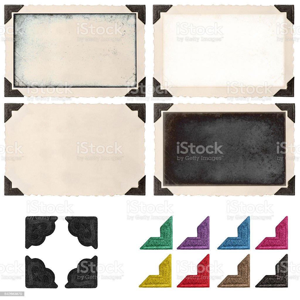 Retro photo frame with corner empty field for picture stock photo