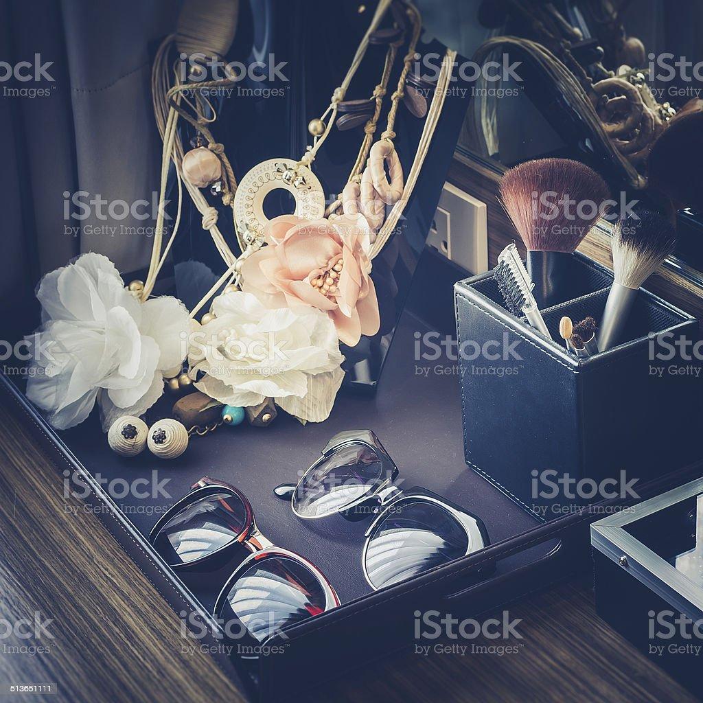 Retro photo of female accessories stock photo