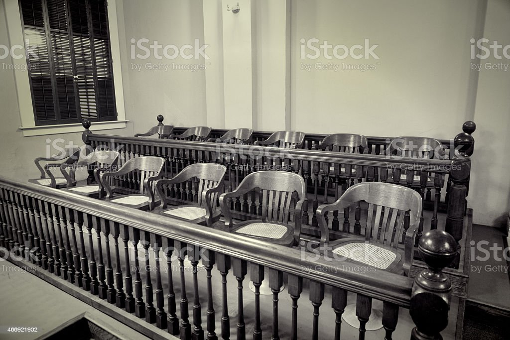 Retro photo of Jury Seating in a Courtroom stock photo