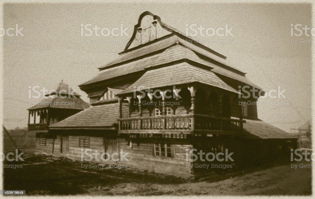 Retro photo of  old wooden synagogue  in Wolpa, Lithuania stock photo