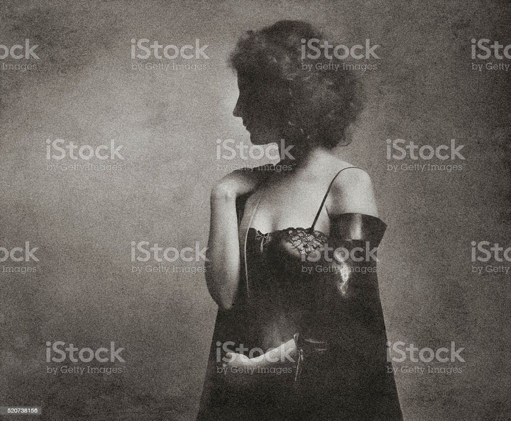 Retro photo portrait of a woman with a healthy body type stock photo