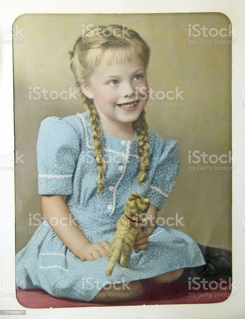 Retro Photograph of Young Girl stock photo