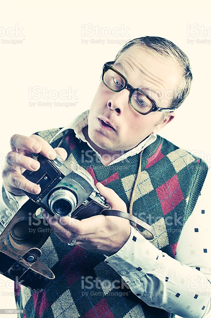 Retro photographer with camera royalty-free stock photo