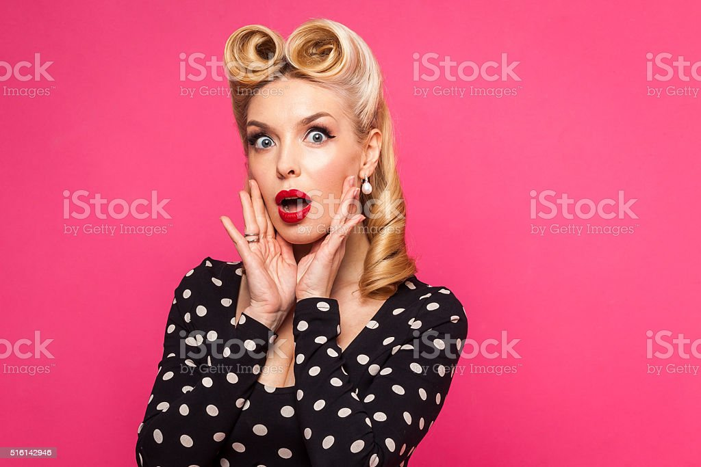 retro pin up girl on pink background stock photo