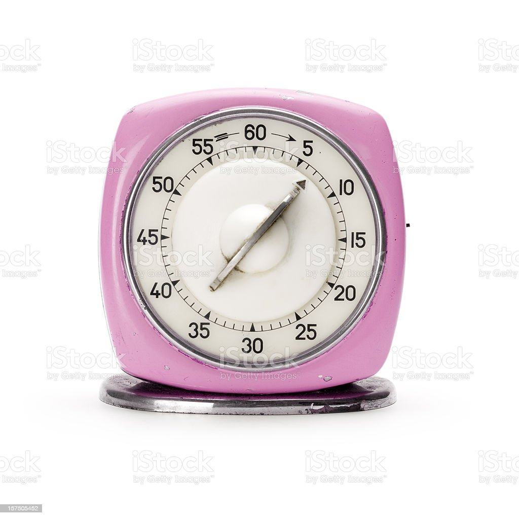 Retro pink kitchen timer stock photo