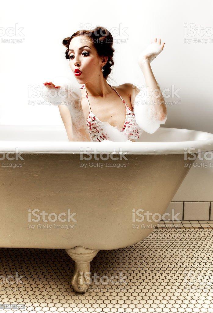 Retro Pin-up Girl: In the Bathtub royalty-free stock photo