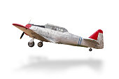 Retro plane struck the ground white.with clipping path