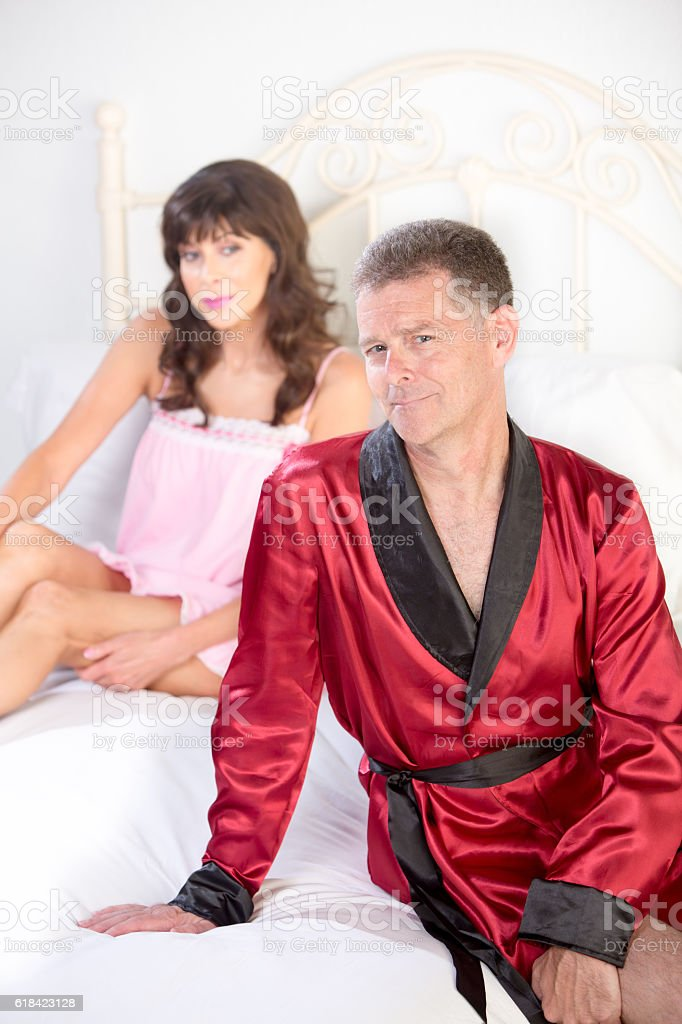Retro Playboy and Pretty Woman stock photo