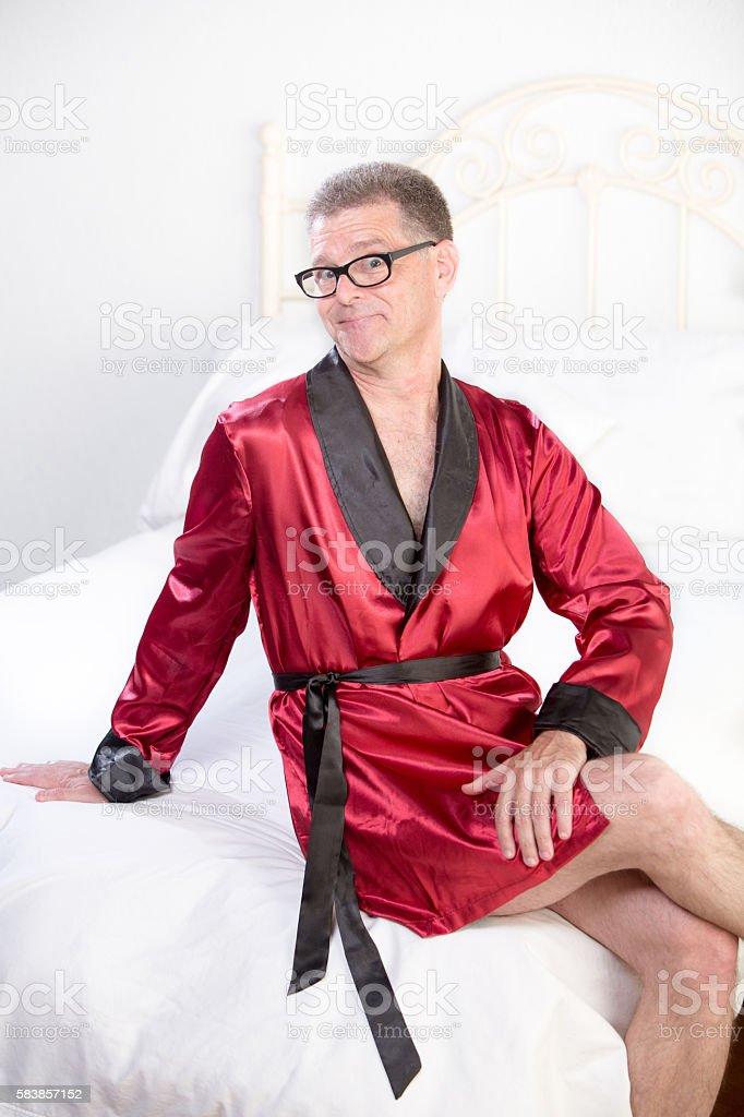 Retro Playboy in Red Pajama Jacket stock photo