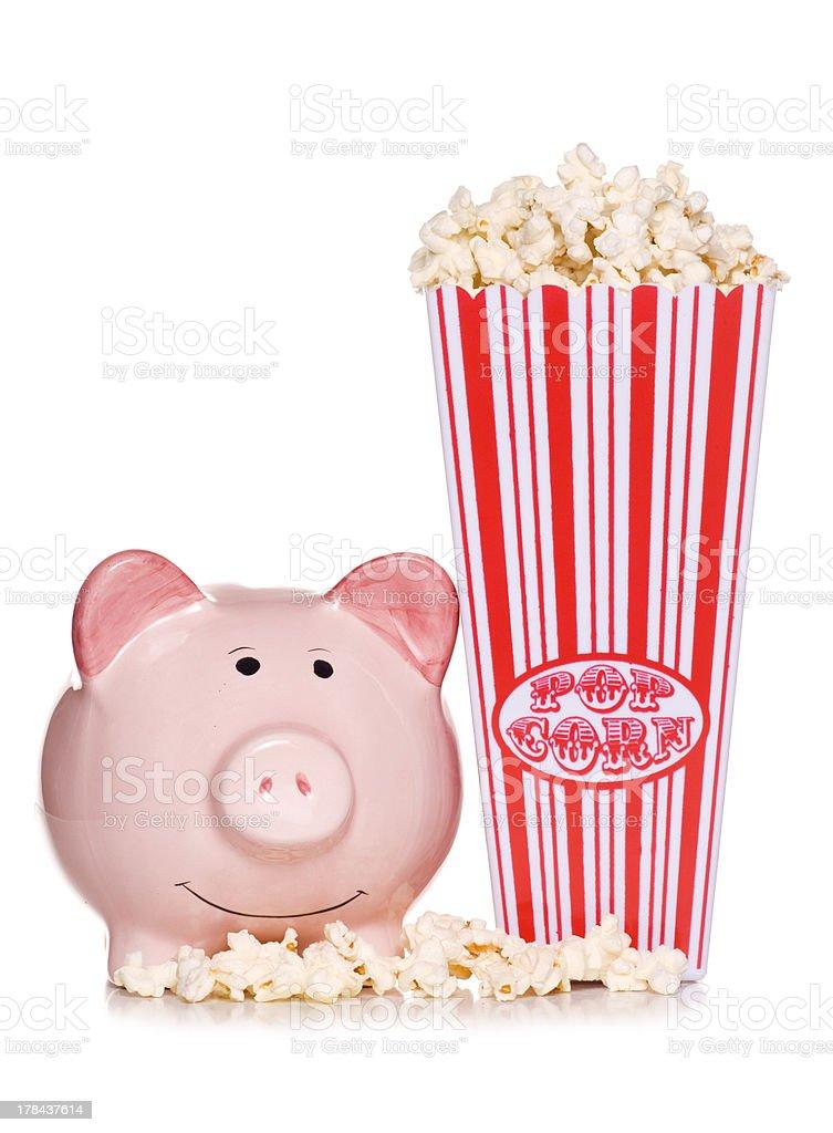 retro popcorn with piggy bank royalty-free stock photo