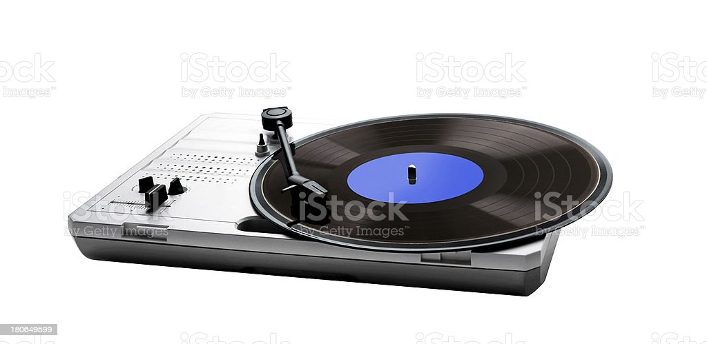 Retro portable turntable isolated and vinyl stock photo