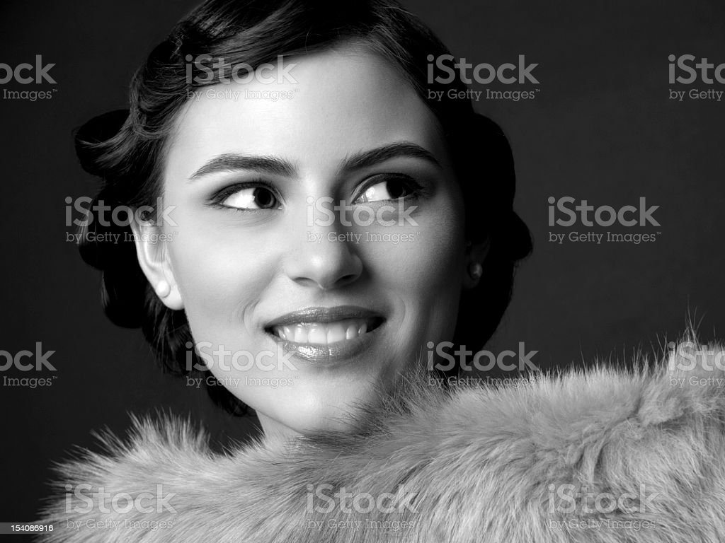 Retro portrait of a beautiful young woman stock photo