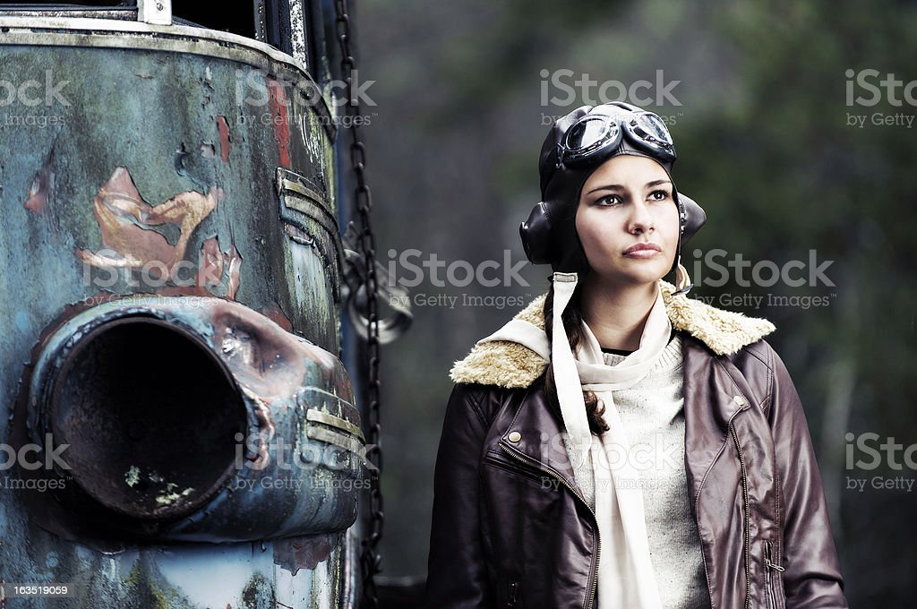 Retro portrait of a female aviator stock photo