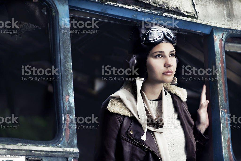 Retro portrait of a female aviator royalty-free stock photo