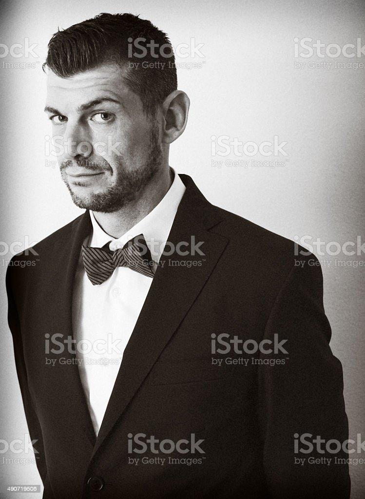 Retro portrait of a sly elegant gentleman stock photo