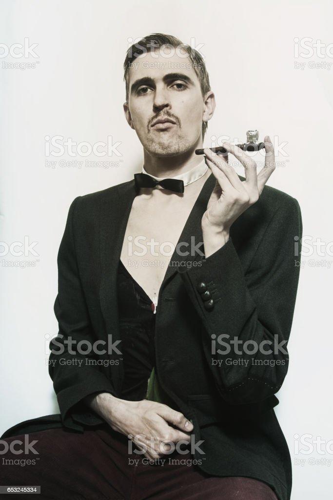 Retro portrait of an adult man stock photo
