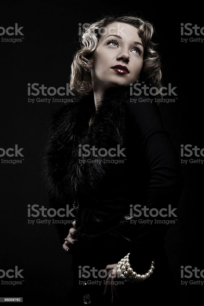 retro portrait of attractive blonde royalty-free stock photo