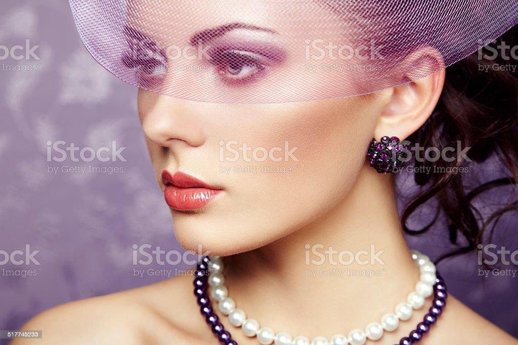 Retro portrait of  beautiful woman. Vintage style stock photo