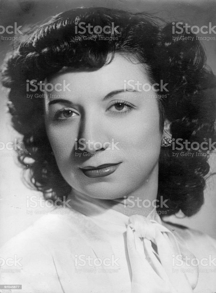 Retro portrait of spanish woman stock photo
