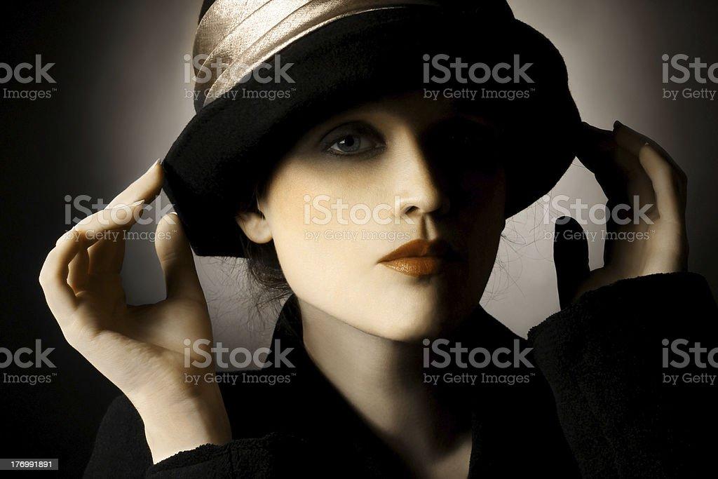 Retro portrait of woman in hat stock photo